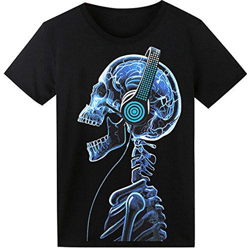 LED T Shirt Sound Activated Glow Shirts Light up Equalizer Clothes for Party ()
