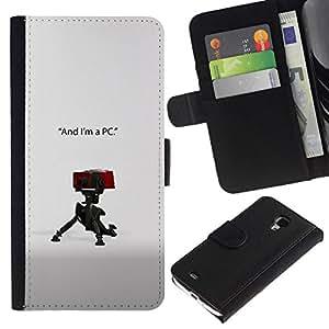 NEECELL GIFT forCITY // Billetera de cuero Caso Cubierta de protección Carcasa / Leather Wallet Case for Samsung Galaxy S4 Mini i9190 // Soy un PC
