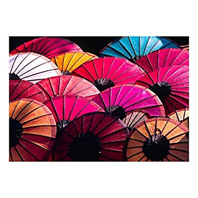 Stunning Object of Art, Quality Creation, Colorful Asian Umbrellas Wall Mural