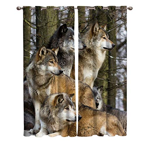 - FunDecorArt Blackout Curtains, Wolves Party Deep Forest Animal Polyester Shade Curtains, 2 Panel Drapes/Window Treatment for Bedroom/Living Room/Office/Teen Room, 104 W x 72 L inches