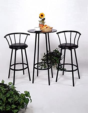 Black Bar Table U0026 Pub Set With 2 Stools