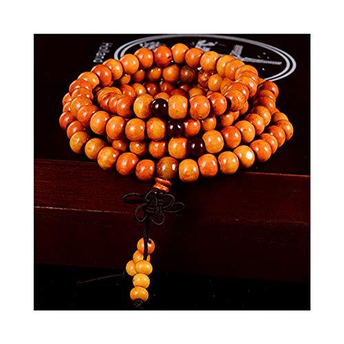 Hoonee 108 Beads 8Mm Natural Sandalwood Buddhist Buddha Wood Prayer Beaded Knot Black Ebony Unisex Bangles for Women,2 Brown