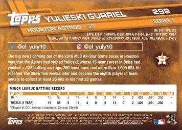 Gurriel Rookie Card Yuli 2017 Topps Baseball #299 Yulieski