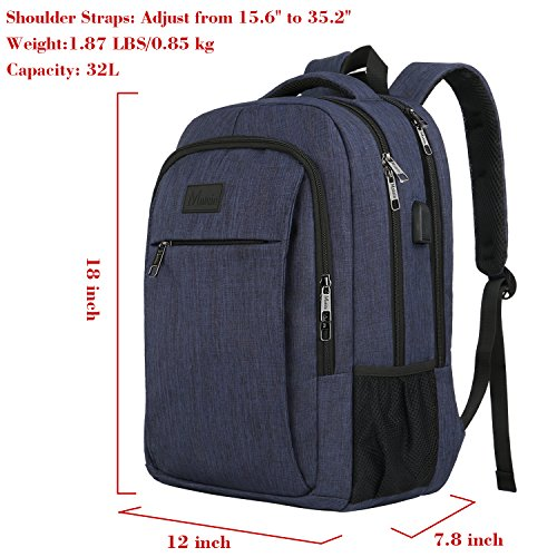 Laptop Backpack with USB Charging Port,Slim Travel Backpack with Laptop Compartment for Men and Women,Water Resistant College School BookBag Computer Bag for Girls and Boys Fits 15.6 In Laptop,Macbook by MATEIN (Image #6)