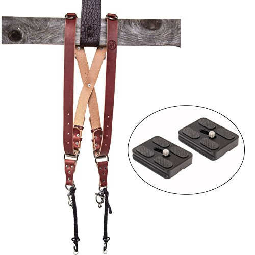 HoldFast Gear Money Maker Multi-Camera Harness, Bridle Leather, Medium, (Chestnut) and Two Ivation Replacement Plates for the Mefoto Roadtrip, Backpacker Tripod Systems by HoldFast