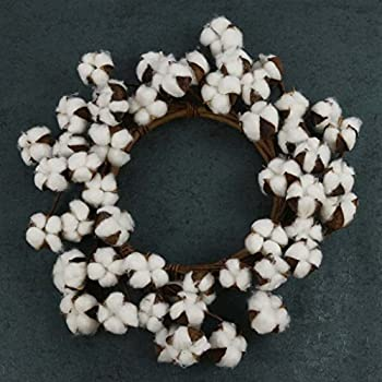 Completely new Amazon.com: Farmhouse Full White Fluffy Cotton Boll Wreath Stem  AN44