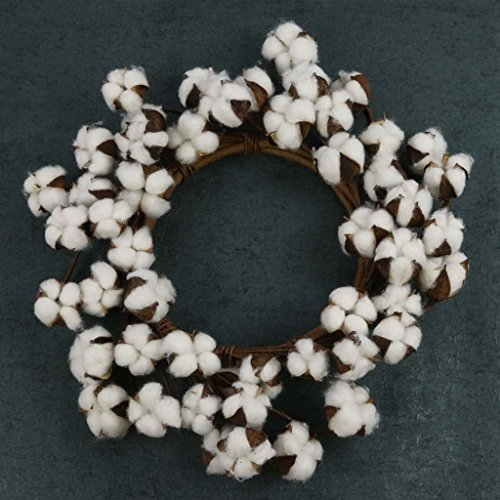 Burlap Basement Cotton Wreath Swirling With 50 Large Cotton Bolls And Flexible Stems - Rustic Farmhouse Decor