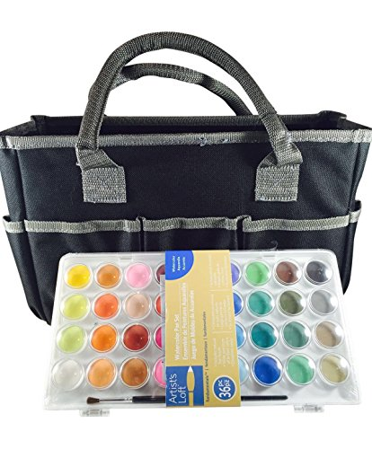 Artist's Loft Fundamentals Art Organizer Tote Bag (Black) and 36 Water Color Pan Set (Bundle Pack)
