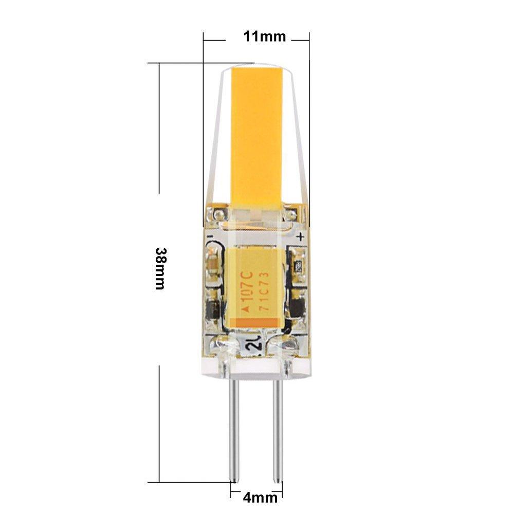 Warm White Spevert G4 LED Bulb 10 Pack 2 Watt G4 AC//DC 12V Bi-Pin LED Light Bulb 20W Halogen Equivalent Silicone Coated Shatterproof 200 Lumens 360/° Beam Angle