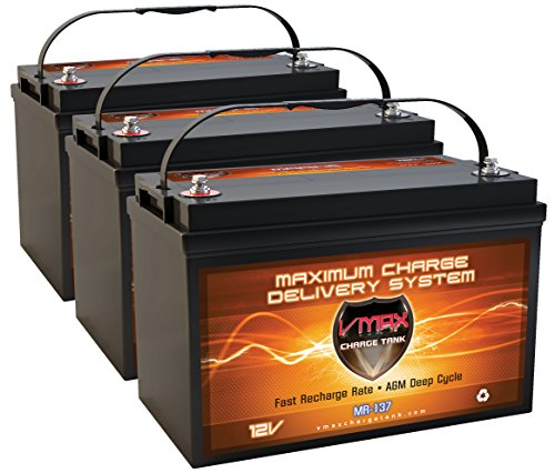 QTY3 VMAX MR137-120 12V 120AH AGM Deep Cycle Group 31 Batteries for Minn Kota Ulterra 112/US2 36V 112lb Trolling Motor