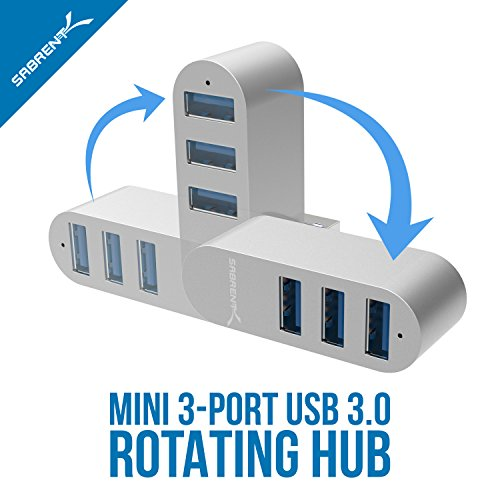 Sabrent premium 3 port aluminum mini usb 3 0 rotatable hub for 180 degrees salon dubai
