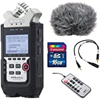 Zoom H4n Pro 4-Channel Handy Recorder Bundle with Custom Windbuster for Zoom H4n, Line-to-Mic Attenuator Cable, Remote Control for Zoom H4n and 16GB SD Card