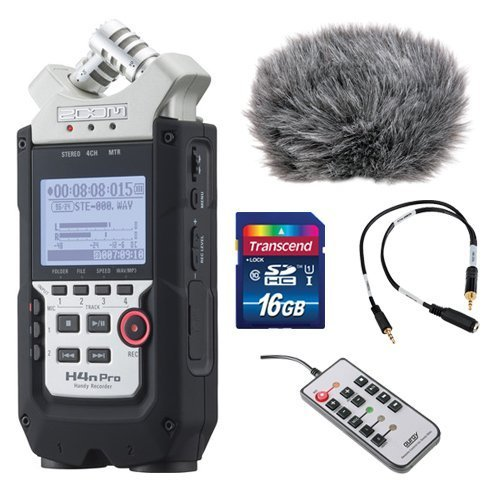 Zoom H4n Pro 4-Channel Handy Recorder Bundle with Custom Windbuster for Zoom H4n, Line-to-Mic Attenuator Cable, Remote Control for Zoom H4n and 16GB SD Card (Zoom H4n Recorder)
