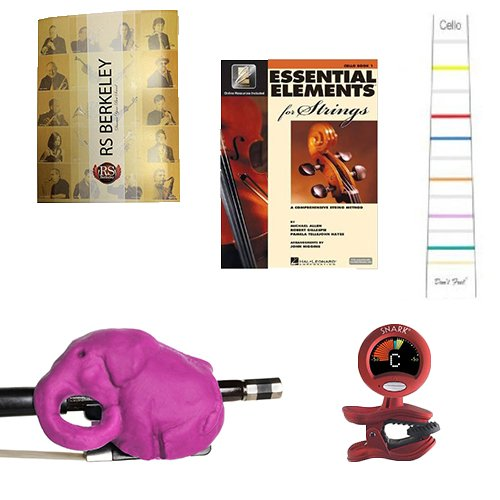 Cello Players Instructional Pack (For 4/4 Full Size Cello)- Essential Beginners Pack for the Cello Includes:Purple Cellophant Bow Hold Cello Teaching Aid, Don't Fret Position Indicator for 4/4 Size Cello, - Purple Cello