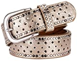 Ayli Women's Jean Belt, Metal Rivets Punk Rock Handcrafted Genuine Leather Belt, Free Gift Box, Gold, Fits Waist 28'' to 29'' (US Pant Size 6-8), bt6b508gd093