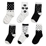 Menghao 6 Pairs Kids Socks Cartoon Cat - 9-12 Years Anti Slip Non Skid Cotton Socks