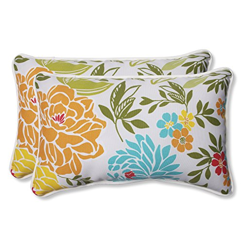Pillow Perfect Outdoor Spring Bling Rectangular Throw Pillow, Multicolored, Set of -