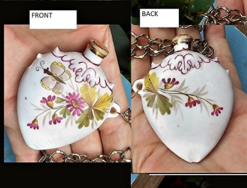 Chatelaine Painted Porcelain Jug Bottle Corked Ornate on 30'' Chain, or Belt, Opens For Secret Treasure, Perfume, Poison, Snuff, Etc. by EMENOW