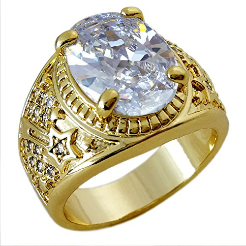 Ahappy-18k Gold filled MENS WEDDING ENGAGEMENT RING BAND R283WHITE