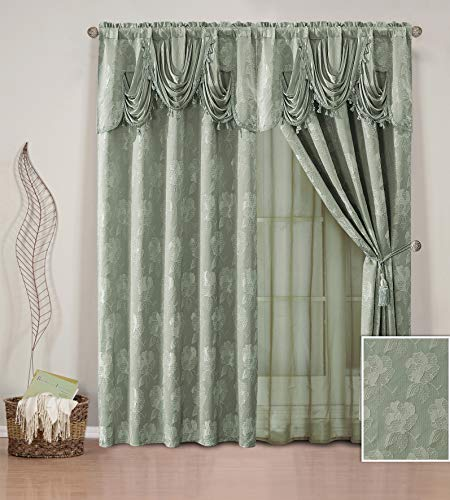 (Elegant Home Window Curtain Drapes All-in-One Set with Valance & Sheer Backing & Tassels for Living Room, Bedroom, Dining Room, and Sliding Doors - Celeste (Sage))
