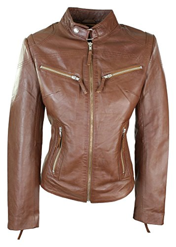 100% Ladies Real Leather Jacket Fitted Bikers Style Vintage Timber Rock Timber