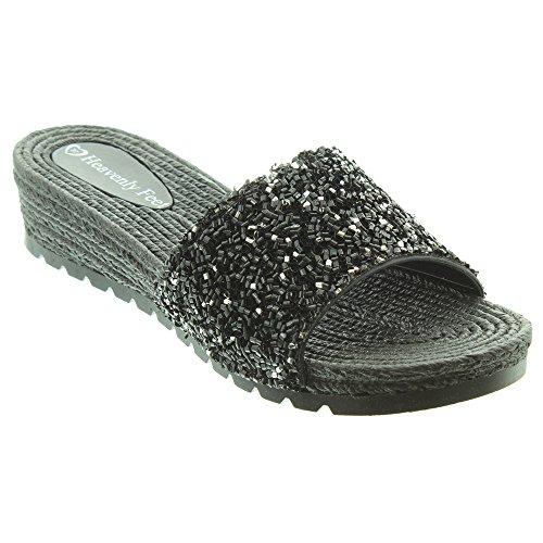 Heavenly Feet Sandales Compenses Noir Zinnia 3 Tailles 7 Femmes vRqrvA