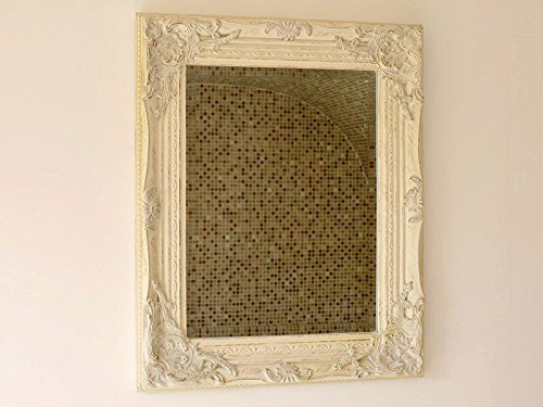 Distressed Antique French Ornate Style White Wall Mirror ~ Shabby Chic DID LTD 1683