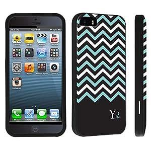 DuroCase ? Apple iPhone 5 / iPhone 5s Hard Case Black - (Black Mint White Chevron Y)