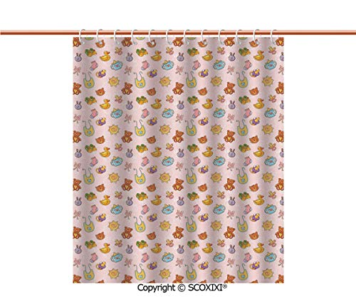 SCOXIXI Shower Curtain,Fashion,Infant Toys Teddy Bears Rubber Ducks Pacifiers with Shoes and Socks Doodle Background Decorative,W72XL72 Inches