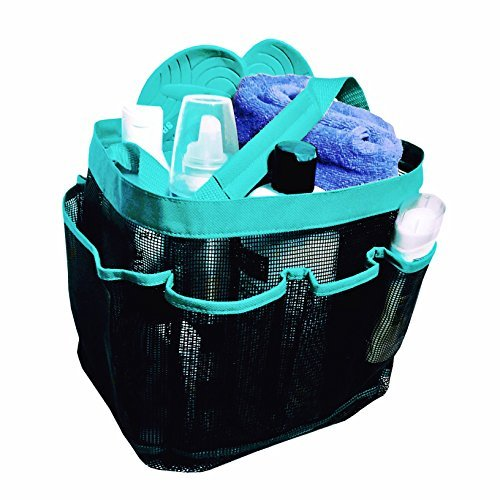 Quick Dry Mesh Shower Caddy Tote plus PVC Zipper Bag - Bath Organizer for Bathroom accessories, Aqua