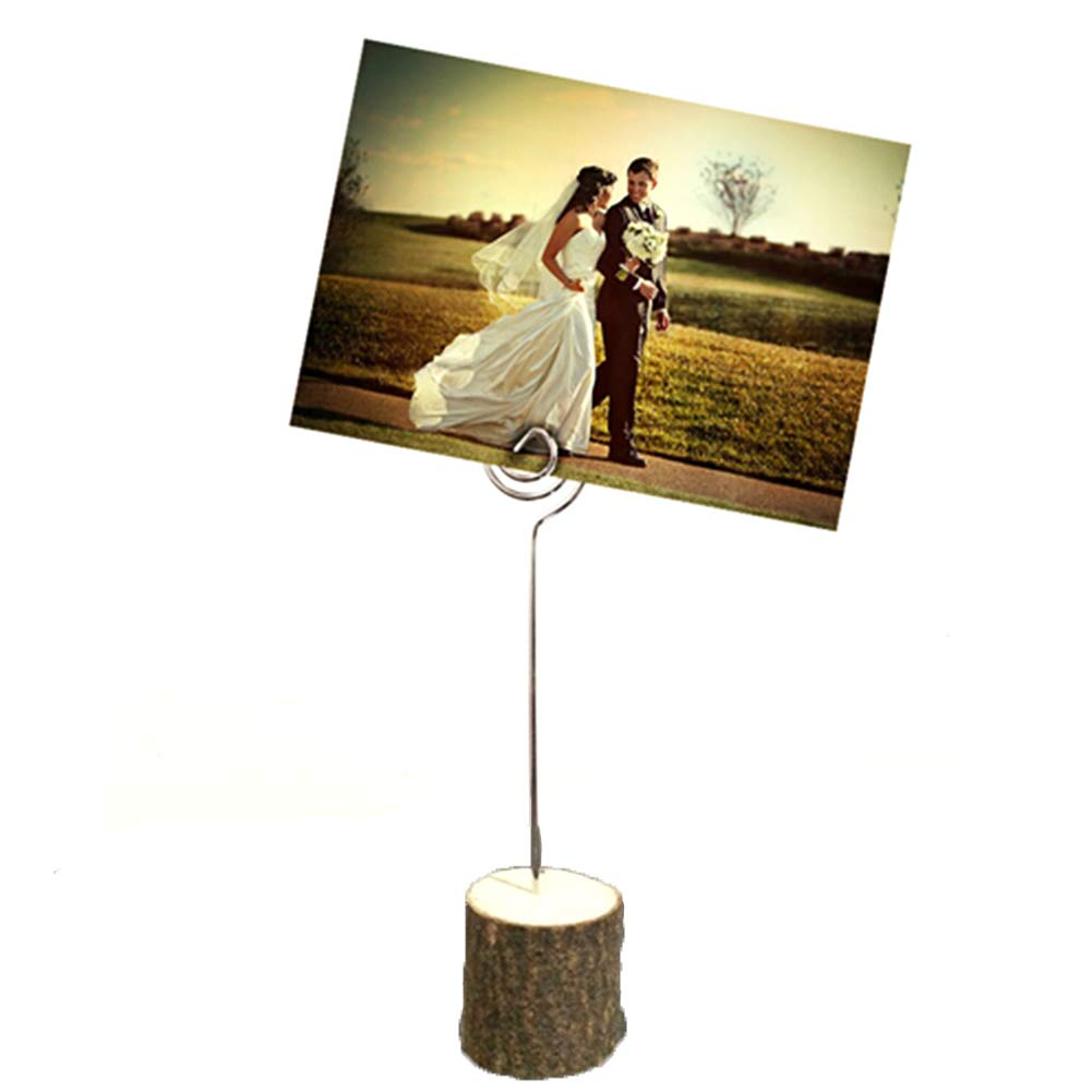 10 Pcs - Perfect for Clipping Photos Memo Menu Notes Place Cards Table Name Holders 3 x 3.5 cm - Rustic Real Wood Wedding Number Stand for Party Decorations Restaurants
