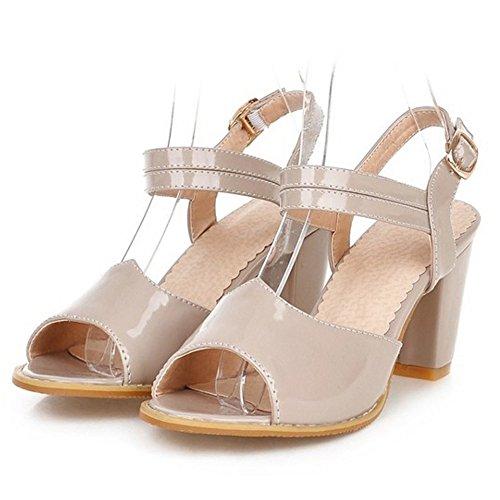 TAOFFEN Mujer Clasico Peep Toe Sandalias Tacon Ancho Tacon Medio Al Tobillo Zapatos Gris