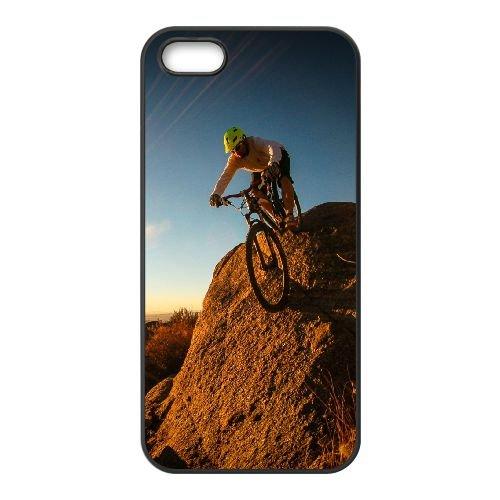 Man Mountain Bike Cyclist coque iPhone 5 5S cellulaire cas coque de téléphone cas téléphone cellulaire noir couvercle EOKXLLNCD25741