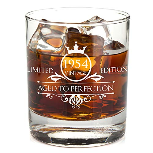 1954 65th Birthday Whiskey Glass for Men and Women - Vintage Aged To Perfection - Anniversary Gift Idea for Him, Her, Husband or Wife - Presents for Mom, Dad - 11 oz Bourbon Scotch Tumbler -
