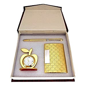 Crownlit 3 in 1 Apple Shape Clock, Card Holder with Premium Metal Pen for Gifting (Golden with Crystal Pen) 1
