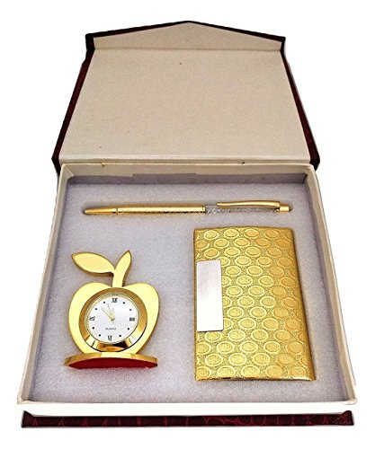 Crownlit 3 in 1 Apple Shape Clock, Card Holder with Premium Metal Pen for Gifting (Golden with Crystal Pen) 181