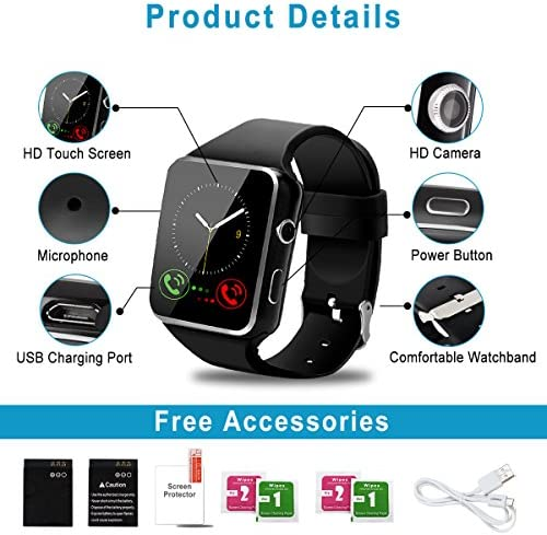 Peakfun Smart Watch,Android Smartwatch Touch Screen Bluetooth Smart Watch for Android Phones Wrist Phone Watch with SIM Card Slot & Camera,Waterproof Sports Fitness Tracker Watch for Men Women Black