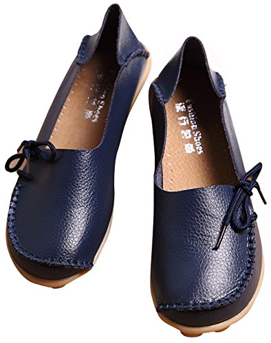 Women's IF Blue Loafer Dark Driving FEEL Flats Shoes 2 Leather 55grw