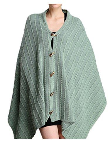 Green Wool Knit - XINTIANJI Women Wool Blend Knit Shawl Ruana Poncho with Exquisite Horn Button