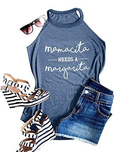 Ofenbuy Womens Mamacita Needs A Margarita Tank Top Halter High Neck Sexy Letter Print Graphic Camisole (Medium, Blue)
