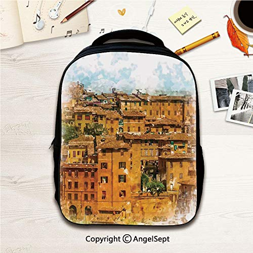 - Lightweight Backpack for School Resistant Casual for Travel,Faded Photo of Historical Italian Town with Old Traditional Authentic Buildings Retro Orange White 12.2inches,Outdoor Sports Rucksack Schoo