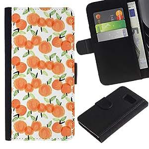 Leather Etui en cuir || Samsung Galaxy S6 || Manzana de la acuarela blanca Melocotón Naranja @XPTECH