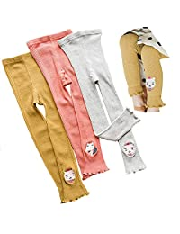 Faxkly Baby Girl's Spring and Autumn Embroidery Nine Pants, Cartoon Nine Points Leggings