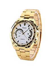Watch W-life Fashion Men's Gold Stainless Steel Band Analog Quartz Sports Watch White