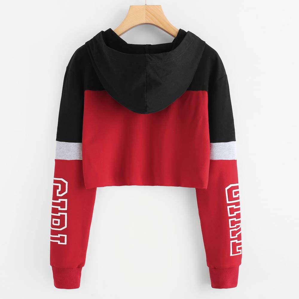 Juliyues Hoodie Sweatshirt Damen Kapuzenpullover Printing Crop Sweatshirts Farbblock Jumper Pullover Langarm Short Tops Bluse