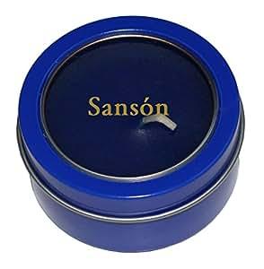 Candela en caja de metal con tapadera plástica con nombre grabado: Sansón (nombre de pila/apellido/apodo)