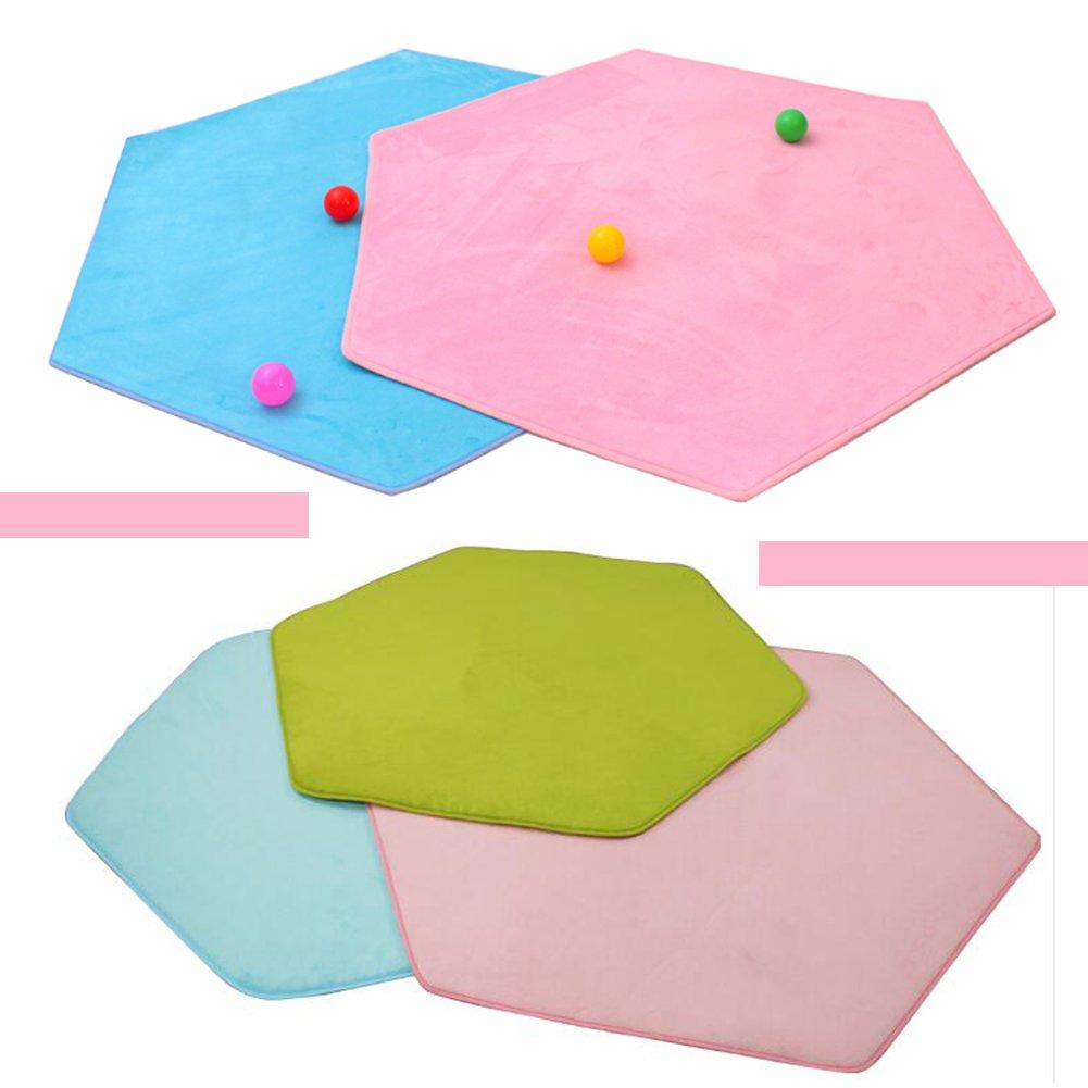 Hexagonal Rug for Kids Playhouse Super Soft Home Carpet Ground Mat Kids Tent Rugs Missingift Children Playhouse Pad Pink Cushion 140 x 140 cm(coral fleece)