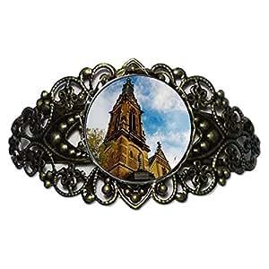 Chicforest Bronze Retro Style Travel Holy Ghost Church in Heidelberg Flower Cuff Bracelet