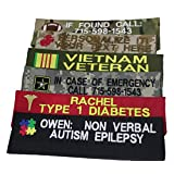 """Personalized Seatbelt or BackPack Strap Covers, Military Camo and Regular Fabrics, with or without Logo. Create your very own message! Perfect In Case Of Emergencies! Fits around a 2"""" diameter."""
