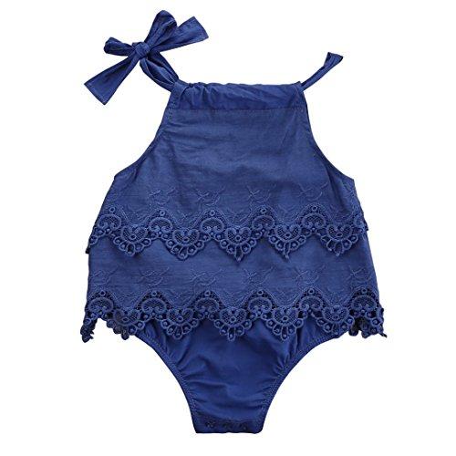 Newborn Baby Girl Infant Romper Jumpsuit Bodysuit Tutu Lace Dress Clothes Outfit (6-12 Months, Blue)